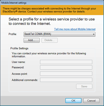 Use Blackberry phone as modem - Mobile Internet settings