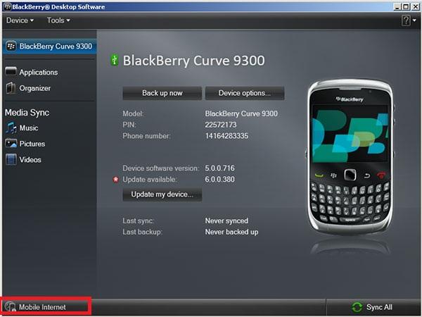 Use Blackberry phone as Modem - Blackberry Desktop Manager