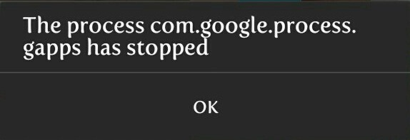 The process com.google.process.gapps has stopped Error