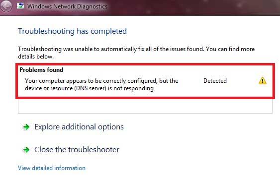 DNS Server not responding Error Solution