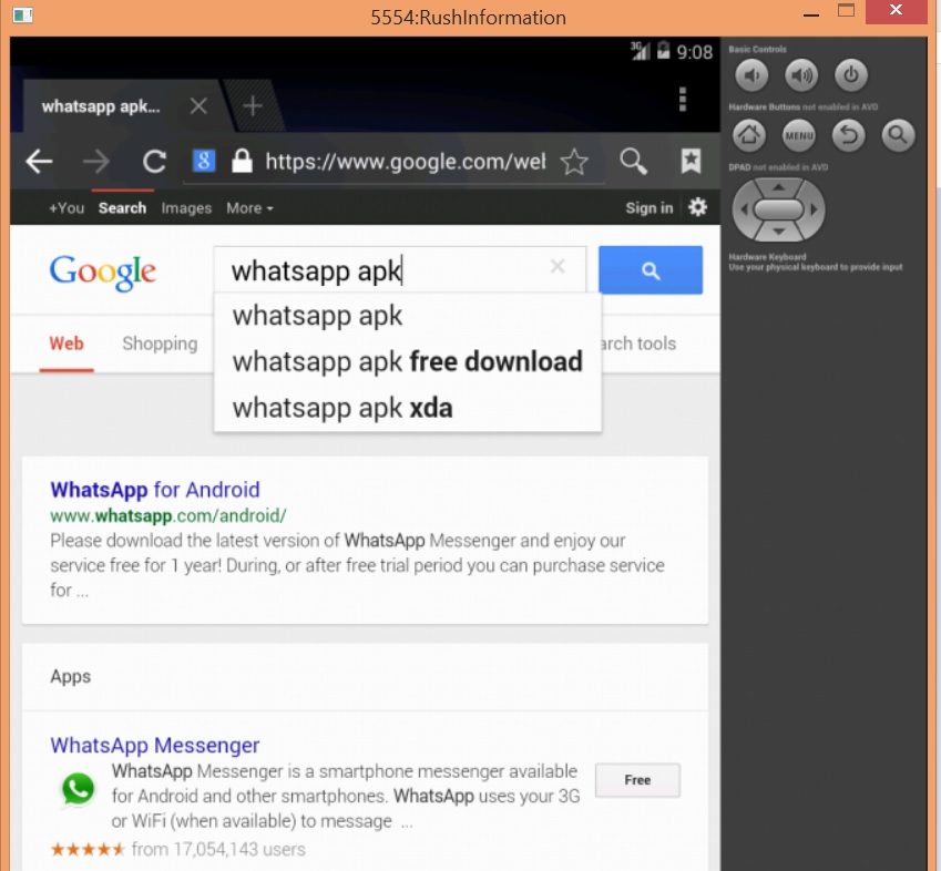 How to Install Whatsapp on PC Using Android SDK Emulator - Step 4
