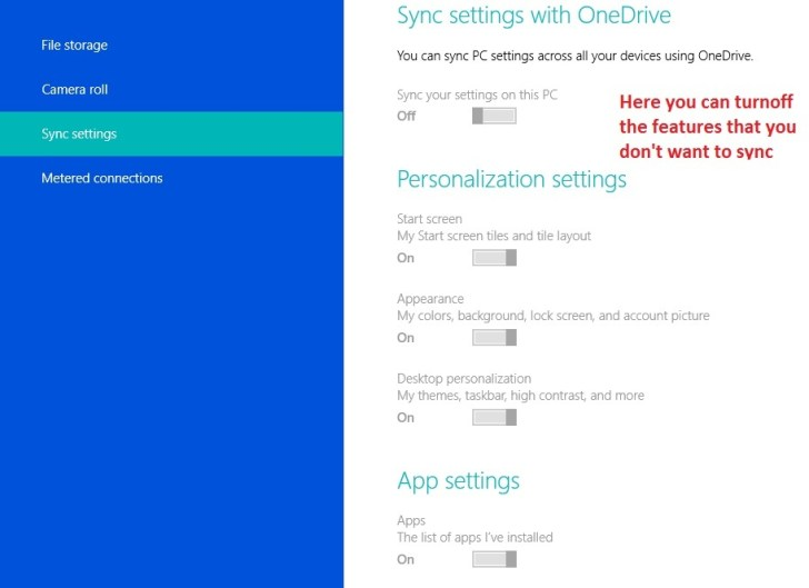 How to Turn off One drive Windows 8.1 - Sync Settings