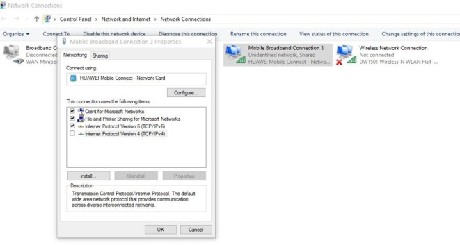 Error 651 Connection in Windows 7-8-1-10- disable IPv6