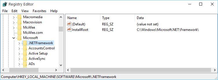 Regedit .Net Framework