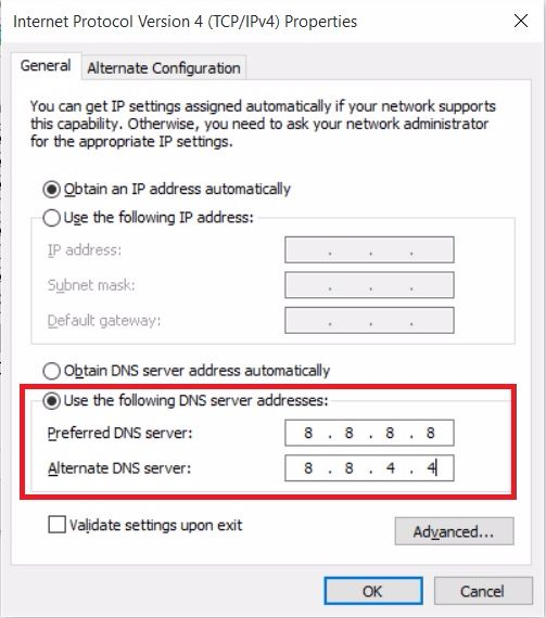 DNS_PROBE_FINISHED_NXDOMAIN - Change DNS Server Address
