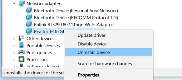 Ethernet doesn't have a valid IP Configuration - Uninstall Driver