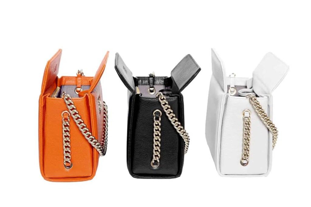 Mini boxy bags orange white black
