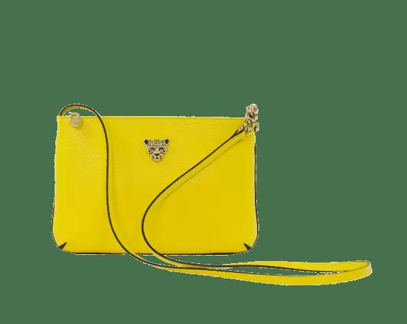 Yellow Crossbody bag w gold logo