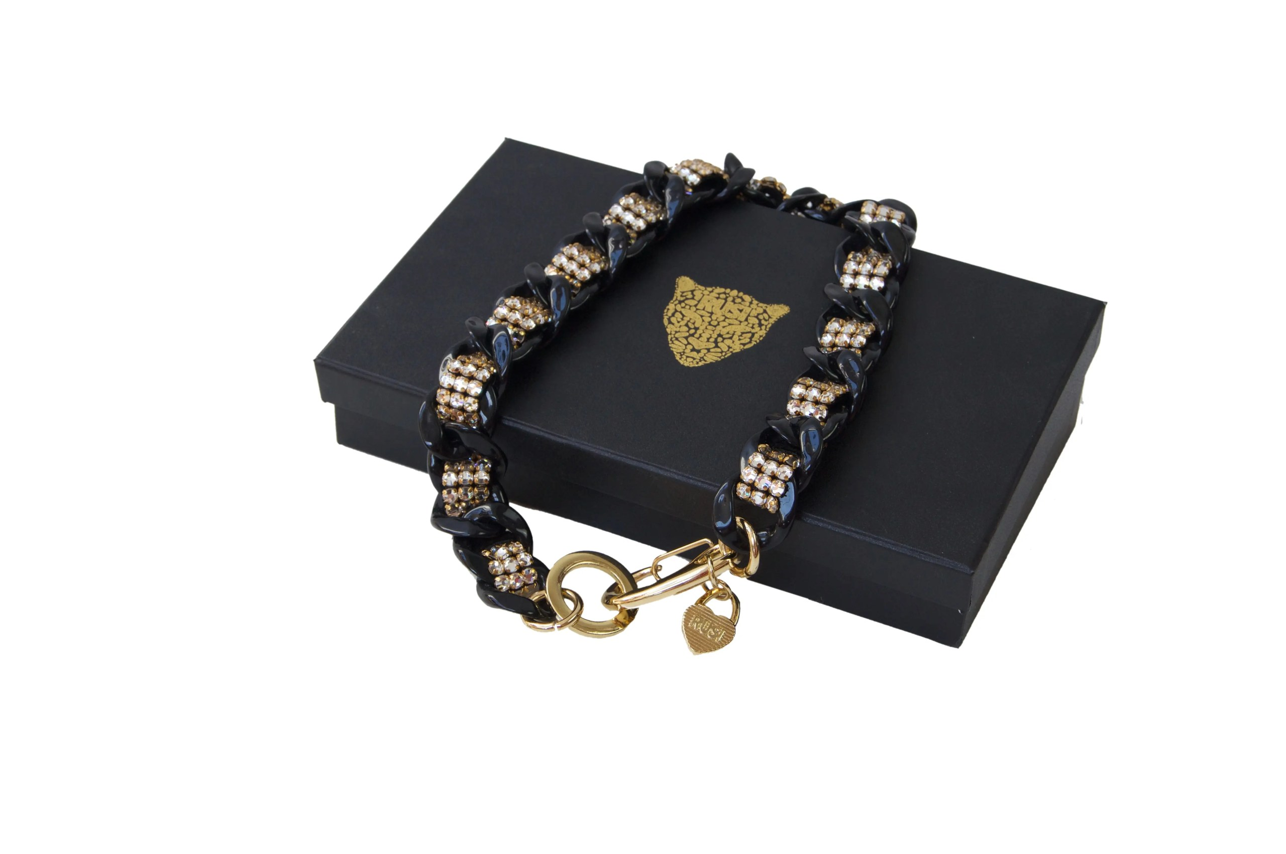 black Charm necklace w white crystal scaled