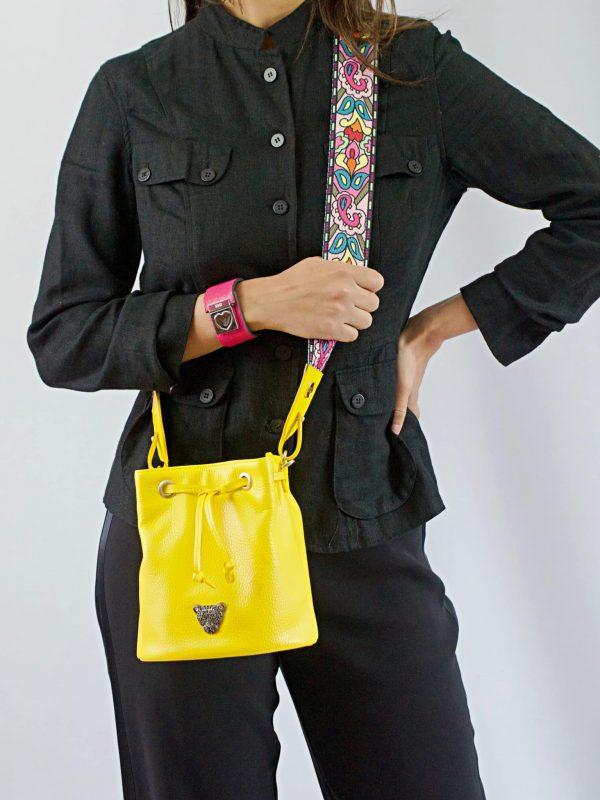 Yellow Bucket Bag Model