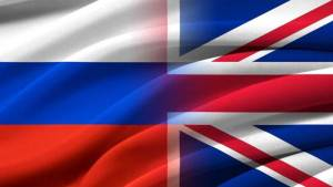 Great Britan and Russia. Relations between two countries. Conceptual image.