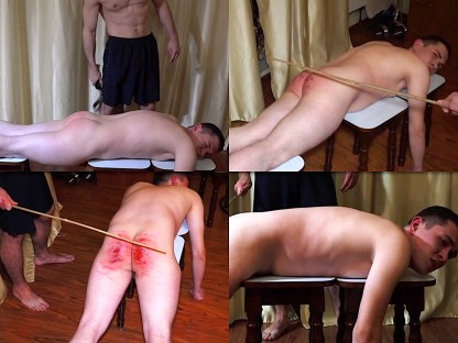 Boy spanking by belt and cane