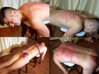 Male back whipping and gay spanking
