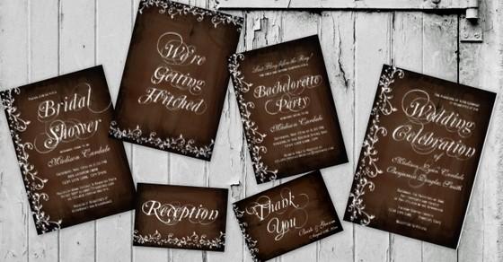 Rustic Country Swirls Brown Wedding Invitations