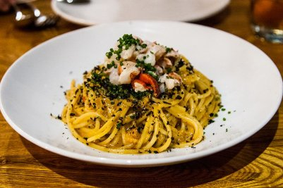 Spaghetti Rustichella with lobster, uni, garlic, Calabrian chilies, & squid ink bottarga Lesley Y. Kim Knobbe Martens Olson & Bear LLP BestFoodLA Community Leader Los Angeles California Bestia Restaurant OpenTable Blog LA Food & Drink Guide Rustichella d'Abruzzo Abruzzo