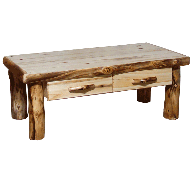 Aspen Log Square Coffee Table With Drawer Rustic Log