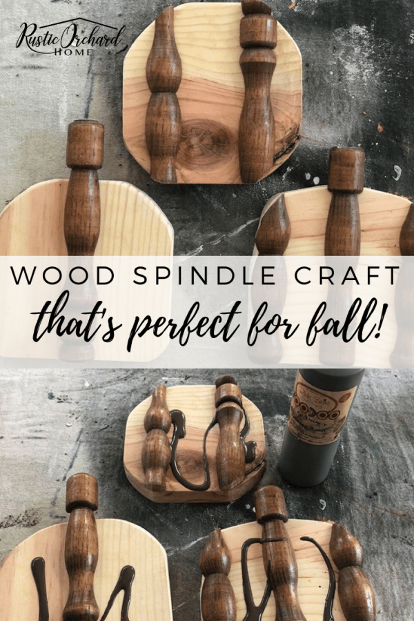 This wood spindle craft is perfect for all your farmhouse DIY home decor! #rusticorchardhome #pumpkincraft #fallcraft #dixiebelle #DIYhomedecor