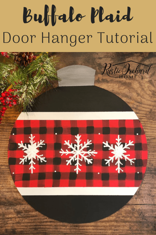This Christmas Door Hanger Tutorial is perfect for your farmhouse Christmas! Budget friendly decor and a step-by-step tutorial make it a great Dixie Belle Chalk Paint project! #Rusticorchardhome #farmhousedecorating #dixiebellepaint #chalkcouture #DIYhomedecor #christmasdecor #christmasDIY #christmascraft