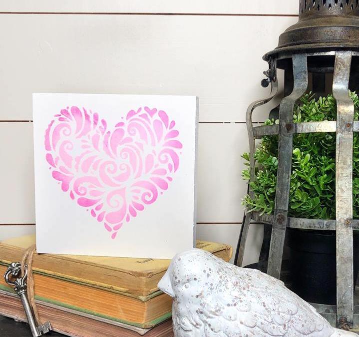 Valentine's Day Heart Stencil Craft