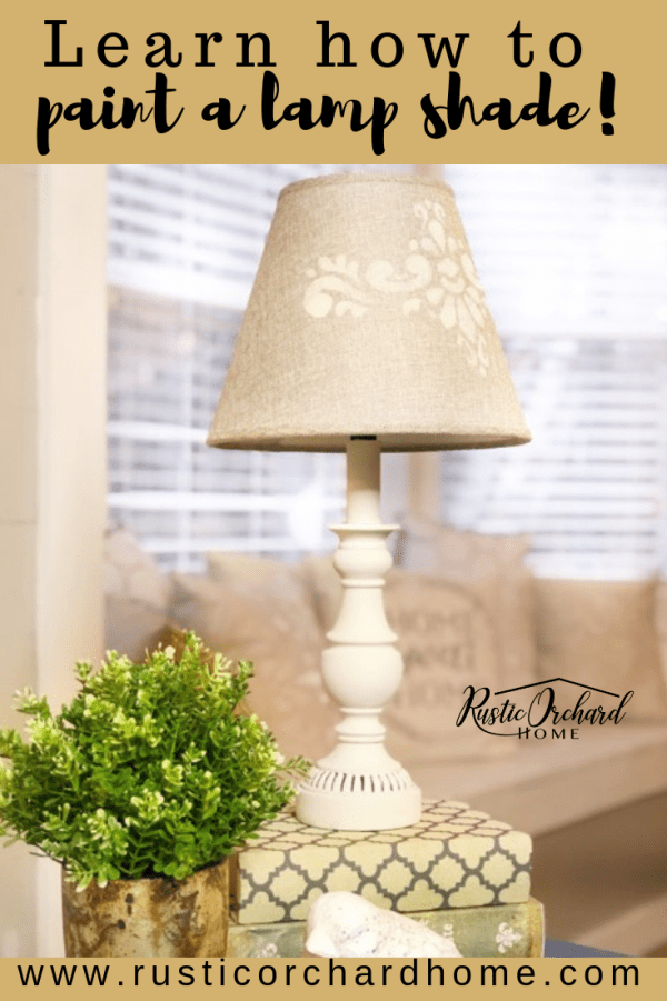 Learn how to paint a lamp shade with this farmhouse DIY home decor tutorial that's perfect for Spring! #rusticorchardhome #dixiebellepaint #stenciling #homedecordiy #diyhomedecor