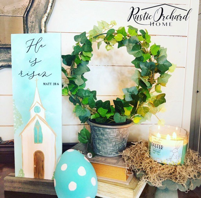 Learn how to make your own DIY hand painted church! #rusticorchardhome #handpainted #springfarmhousehomedecor #easterdecorforthehome #farmhousediy