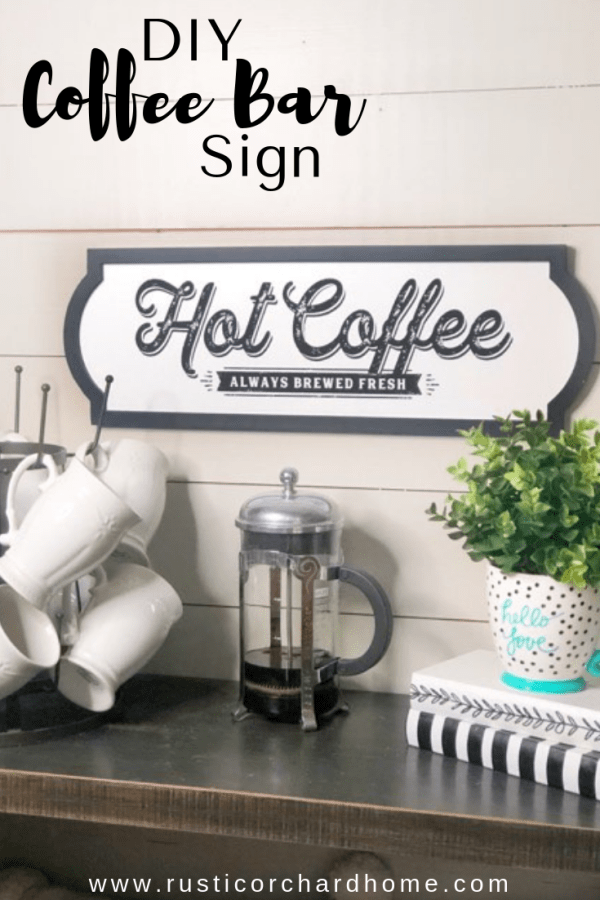 Learn to make a DIY Coffee Bar Sign using Chalk Couture! #rusticorchardhome #coffeebarsign #chalkcouture #diyhomedecor #coffeebardecor