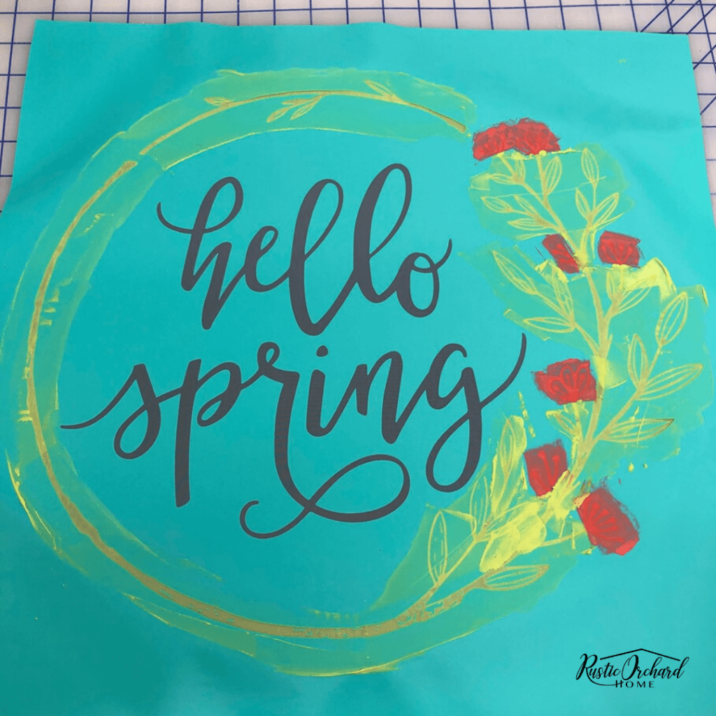 Make this Hello Spring wood sign using my DIY tutorial. Budget friendly crafting for spring! #rusticorchardhome #springhomedecor #springchalkcouture #springcraftingtutorial