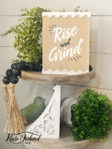 Surface and color ideas that you can use with the Chalk Couture Rise and Grind Transfer! #rusticorchardhome #chalkcouture #riseandgrind #coffeebarideeas #chalkcoutureprojectideas