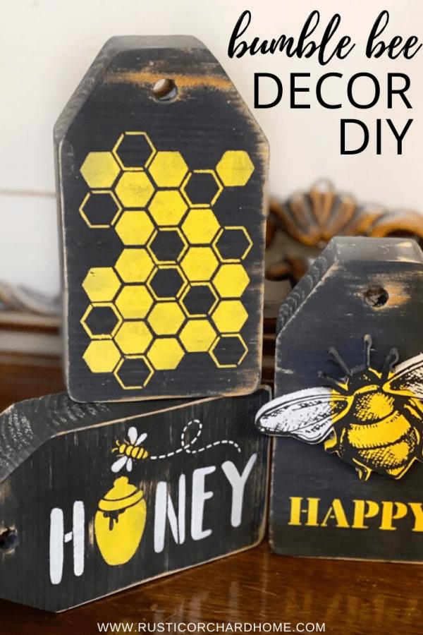 This Bumble Bee DIY Decor idea is perfect for all of your spring and summer farmhouse vignettes. #rusticorchardhome #bumblebeedecor #beedecor #tieredtraydecor #farmhousedecordiy
