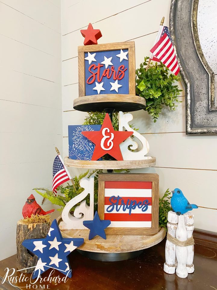 Get your 4th of July tiered tray decorated with this DIY Patriotic Decor kit. #rusticorchardhome #4thofjulydecor #patrioticdiydecor #4thofjuly #patriotichomedecor