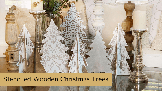 This set of Stenciled Wooden Christmas Trees are budget friendly winter and Christmas DIY decor.