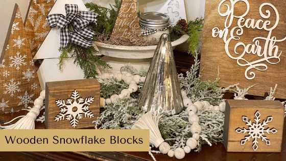 Make your own winter farmhouse decor with this Wooden Snowflake Blocks tutorial.