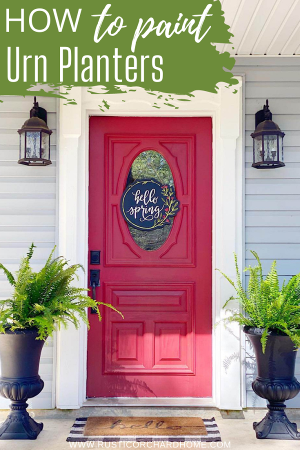 Upcycle your old planters with this Painted Urn Planters tutorial.