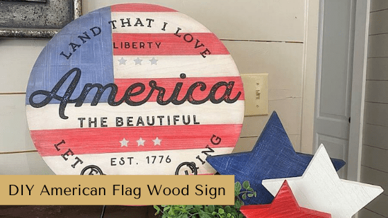 This is the best Summer Décor Idea! Make your own DIY American Flag Wood Sign using this patriotic themed budget friendly home décor tutorial.