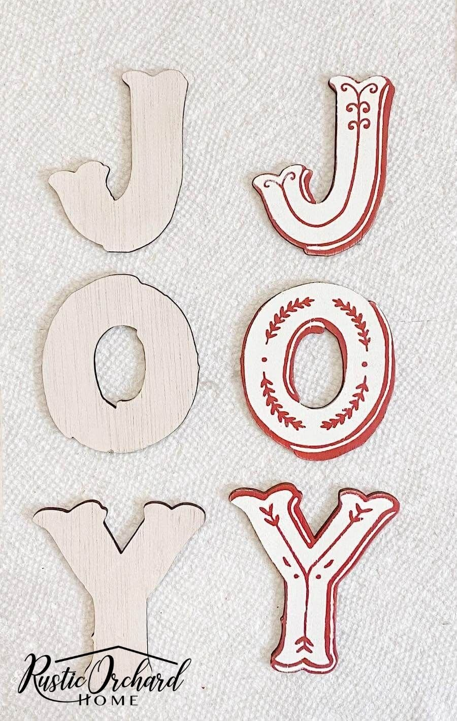 This JOY Holiday Sign idea uses multiple elements to bring interest and FUN to the holiday crafting season.