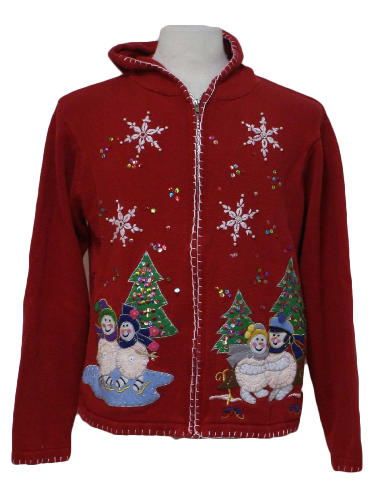 Womens Hooded Ugly Christmas Sweater Victoria Jones