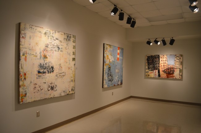 Bill Fisher's abstract paintings on display at the Porterfield art gallery.