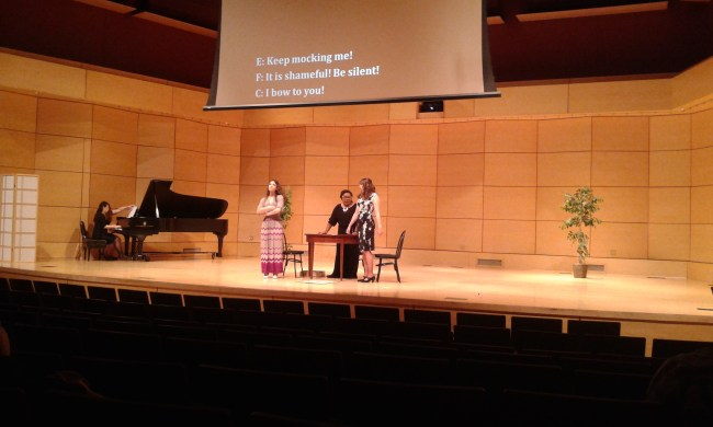 Radford University students singing at the Opera Workshop.