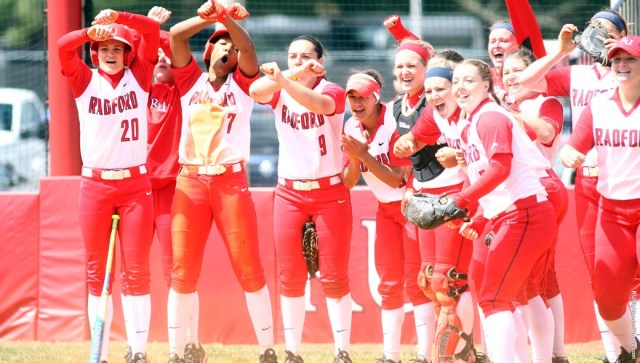 The softball team celebrates a walkoff win and a sweep of Garnder-Webb
