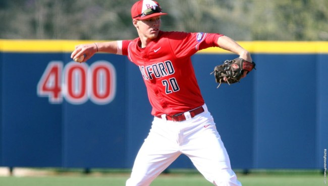 Colby Higgerson fields the ball. Courtesy of Radford Athletics