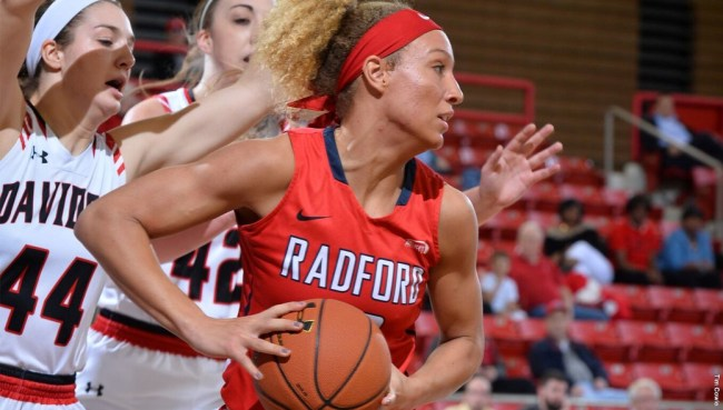 Lydia Rivers looks to make a pass against Davis & Elkins. Courtesy of Radford Athletics