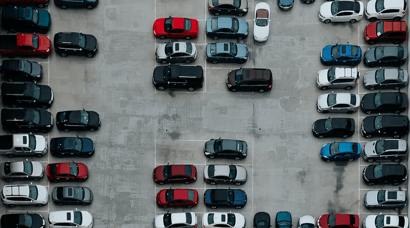 Cars in a lot