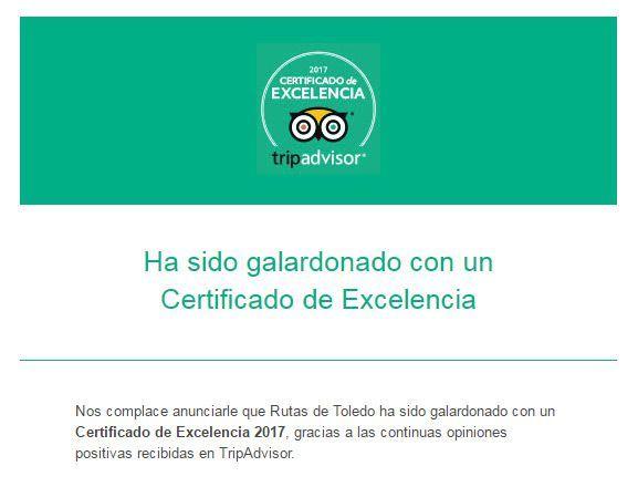 Notificación del Certificado de Excelencia TripAdvisor 2017 a Rutas de Toledo