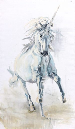 unicorn running, magical realism painting, surreal horse in white