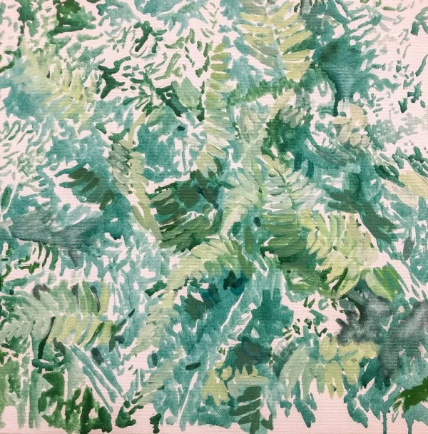 grass green ferns impressionist style painting
