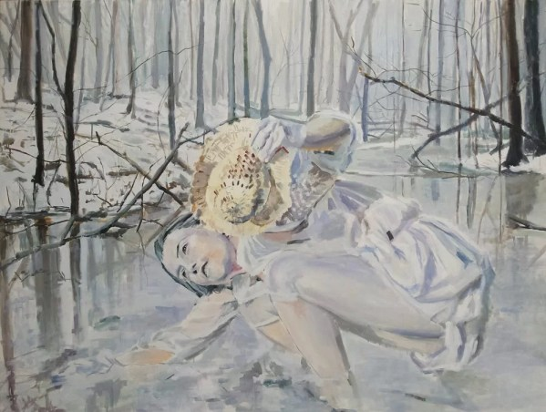 white ice girl leaning into winter river in snowy forest, figurative realist painting