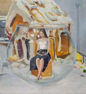 surreal painting, gils holding a bee, sitting in a glass sphere, gingerbread house behind her