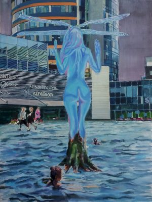back of a holographic blue woman with dragonfly wings on her head standing in a flooded city square, surreal painting