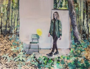 figurative artwork, girl entering a room from a forest, magical realism artwork