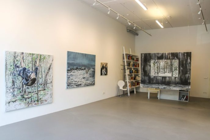 exhibition in gallery, girl on swings in forest, deer on snowy mountain, a window to snowy forest in a concrete wall
